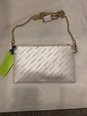 SILVER VERSACE JEANS CLUTCH BAG WITH WRIST STRAP AND TOP ZIP