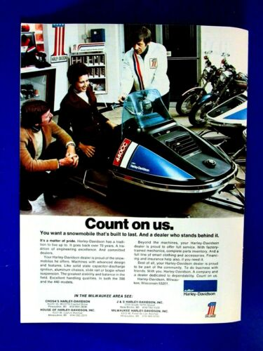 "Harley Davidson 440 Snowmobile Wisconsin. Regional Original Print Ad-8.5 x 11"""