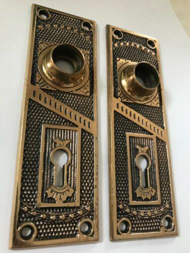 "PAIR (2) OLD ART CRAFT DECO VICTORIAN 5 5/16"" CAST BRASS ANTIQUE DOOR KNOB PLATE"
