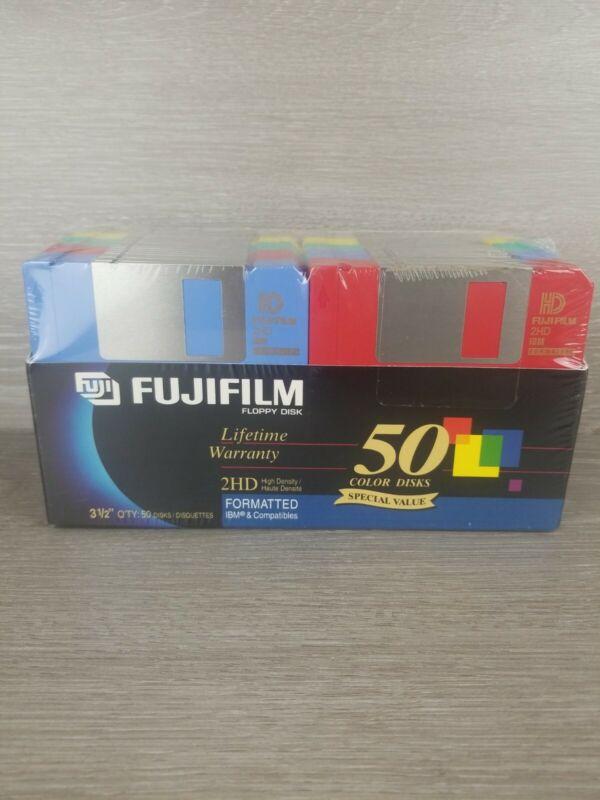 "Fujifilm Color Floppy Disks 3.5"" 2HD 1.44 MB 50 Pack High Density New Sealed"