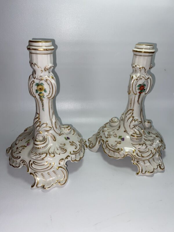"Antique Dresden German Porcelain Candle Holder Pair 7"""