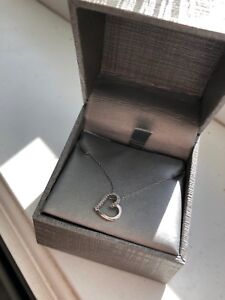 0.04 CT. T.W. Diamond Tilted Heart Pendant in 10K White Gold