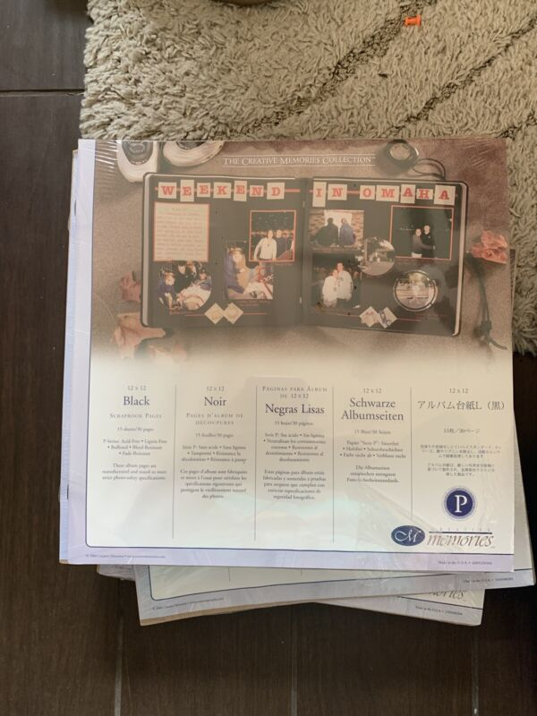 Creative Memories 12 x 12 BLACK SCRAPBOOK PAGES Refills 15 Sheets/30Pages