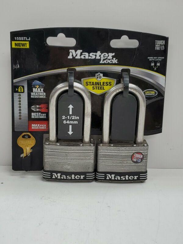 "MASTER Lock 15SSTLJ  Laminated Stainless Steel Lock 2-1/2"" Wide Pack of 2 keyed"