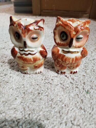 Vintage Porcelain Owl Salt & Pepper Shakers 3 Inches