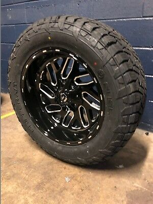 """20x10 Fuel D581 Triton 33"""" AT Wheel and Tire Package 6x5.5 Chevy Silverado 1500"""