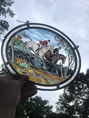 VINTAGE GLASSMASTERS STAINED GLASS SUN CATCHER ENGLISH HORSE RIDERS JUMP SAVITT