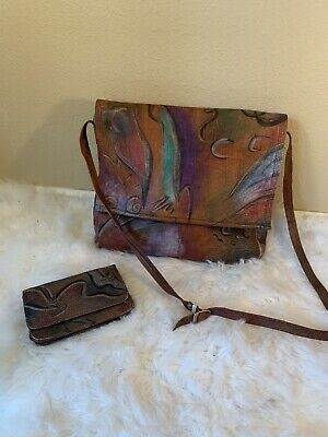 Vintage Anuschka Handbag Abstract Hand Painted Leather flap & small flap wallet