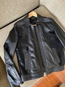 Versace Collection men's Lamb Leather Jacket black Size M, EU50, UK40