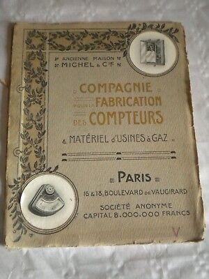 Vintage catalogue 1912 Gas Meters makers Michel & Cie paris social history