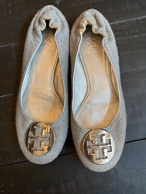Tory Burch Flats, Gray With Silver Medallion, 7.5 (Tory Burch Silver)