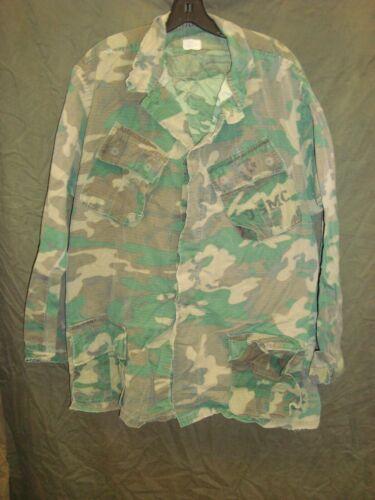 Original USMC ERDL Brown Dominant Slant Pocket Jungle Jacket 1969 Large Long