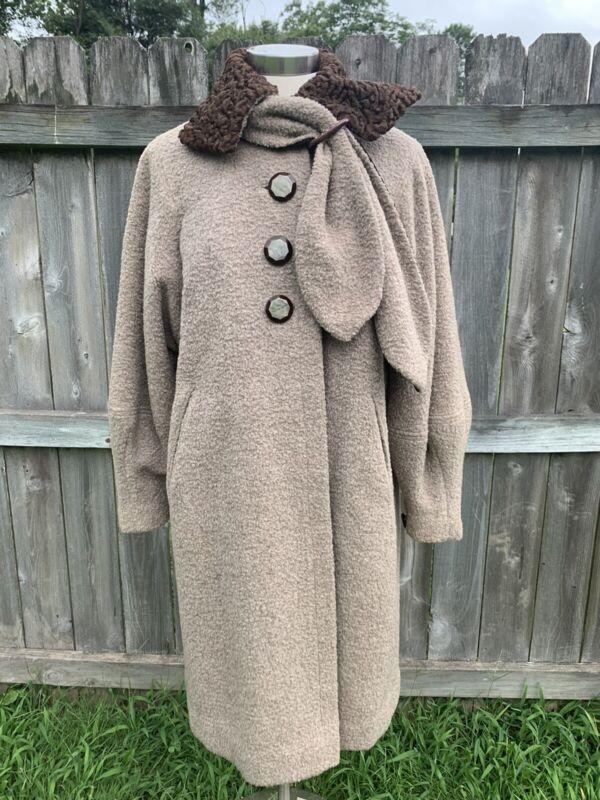 Vintage 1960s Leventhal Faux Fur Tapestry Wool Swing Mod Rockabilly Coat