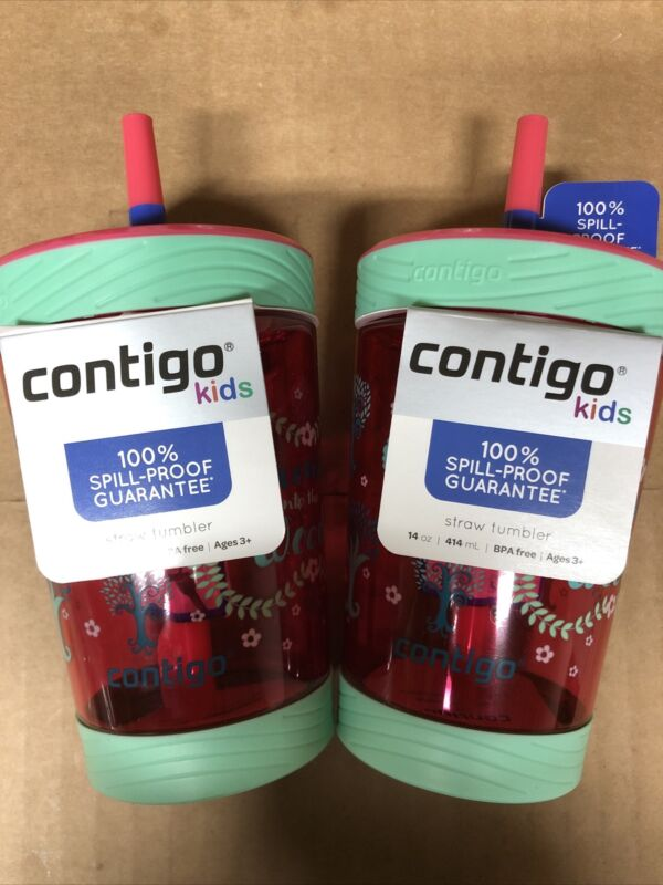 Lot Of 2 Contigo Spill-Proof Kids Straw Tumbler 14oz Sprinkles Pink New