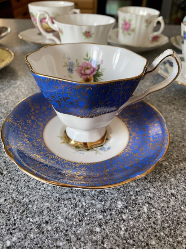 VINTAGE Royal Stafford Blue & Gold Trim Tea Cup and Saucer England