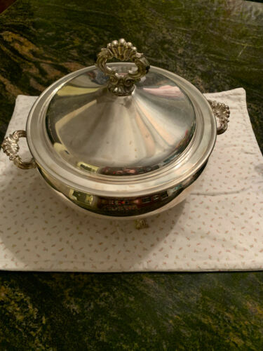 VINTAGE F B ROGERS SILVER CO SERVING DISH WITH LID SILVERPLATE