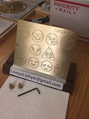 Emoji X 10 Brass Engraving Plate For New Hermes Font Tray 10 Emojis Template