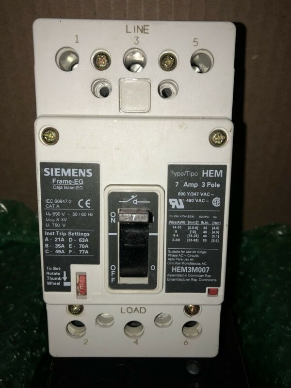 Siemens HEM3M007L 3p 600V 7a Molded Case Circuit Breaker MCP NEW