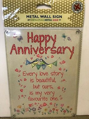 Happy Anniversary - SMALL - Tin Metal Wall Sign *Top - Happy Anniversary Signs