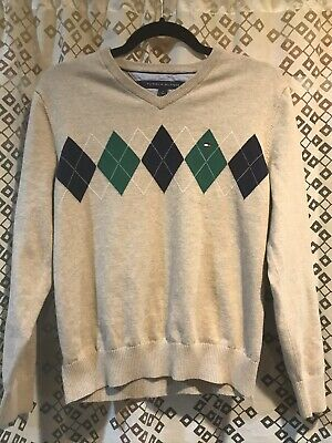 Tommy Hilfiger Gray Argyle Women's V-neck Pullover Sweater Size Medium