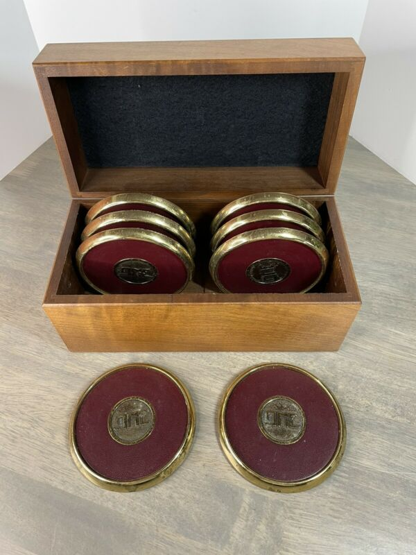 BTS Solid Brass and Leather 8 pc Coaster Set in Stunning Wood Box ONE logo