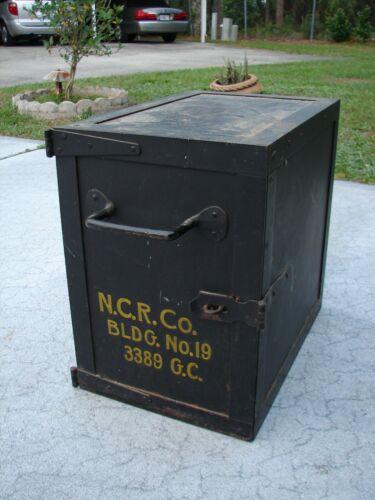 Vintage Welded Steel National Cash Register STRONG BOX NCR Co Bldg 19 3389 GC
