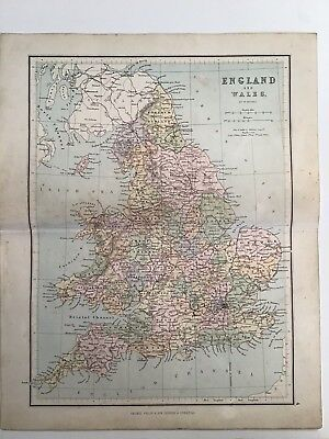 England and Wales, Hughes, 1881 Antique Map, Philips, Atlas, Original, Counties