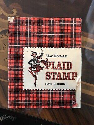 "VINTAGE 1963 MACDONALD PLAID STAMP ""FULL"" SAVER BOOK A&P SUPERMARKET"