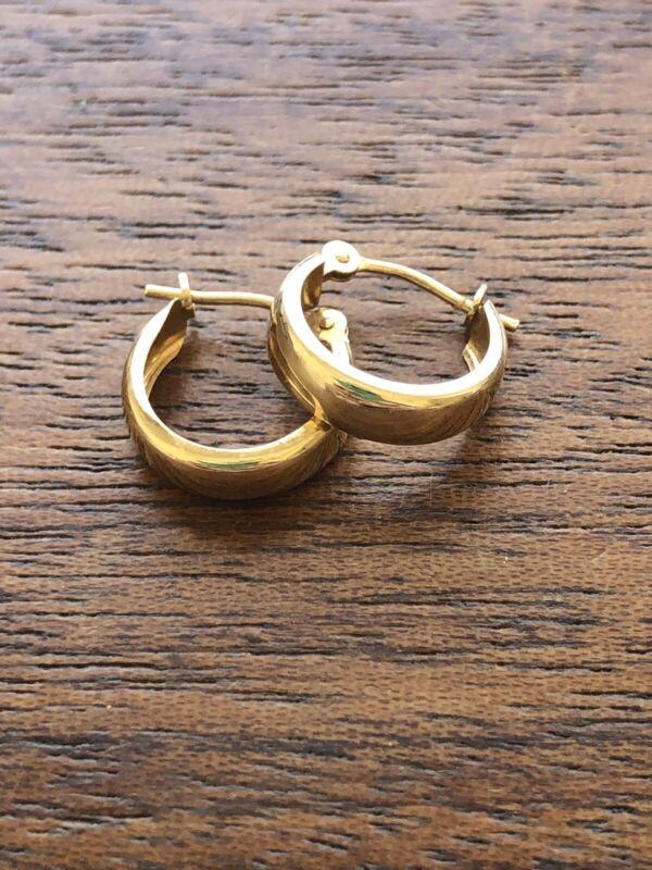 Vintage Estate Minimal .5 Inch 14KT Yellow Gold Hoop Earrings