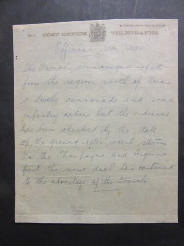1915 WW1 Telegraph News Bulletin Sept. French Fighting Arras Argonne  f1-41