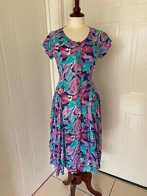 Vintage Adini Indian Soft Cotton Floral Button Through Summer Dress 8-10
