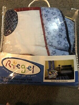 Riegel Baby Ready Set Go 4 Piece Nursery Crib Bedding Set and Bumper Pad  Blue