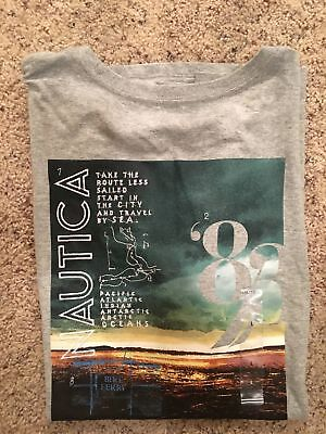 Nautica Graphic T Shirt Heather Grey Mens Size  Large New