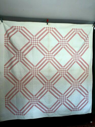 """Antique Hand Pieced Quilt Beautiful Hand Quilting Overall 78"""" x 78"""" Nicely Made"""