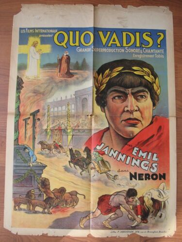 QUO VADIS? (1924) Original Belgian Poster, Emil Jannings, Silent, Poor Condition