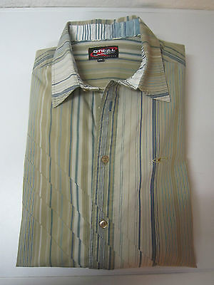 * CHEMISE BEIGE - RAYURES BLEUES ET CAMEL  --  T XL --  O'NEILL