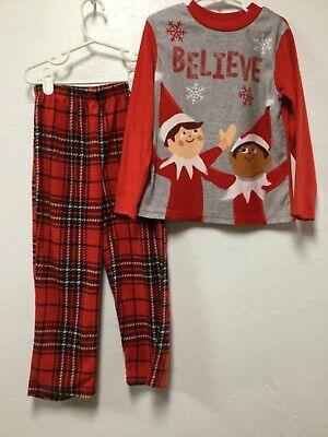 Believe Boys Two Piece Pajama Set Size XS Gray Red Black Elf On The Shelf 189