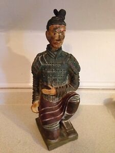 "Large Vintage Wooden 17"" Japanese Samurai Decanter Bottle"
