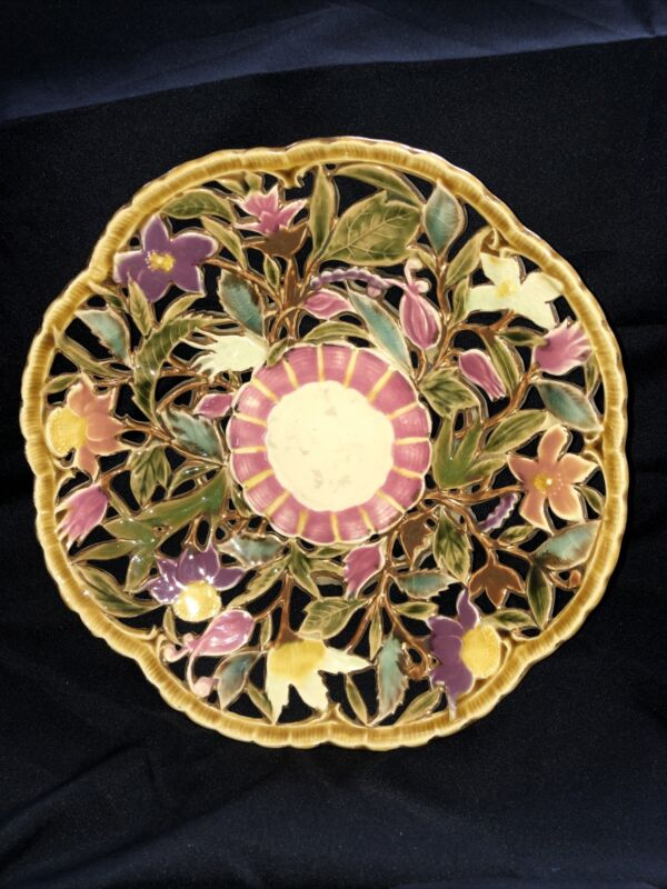Antique ZSOLNAY~Pecs~Majolica~Floral Basket Bowl~Pierced~Reticulated c. 1891