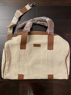 New Versace Parfums Weekender Shoulder Bag Duffel Gym Travel Tan Sand Brown
