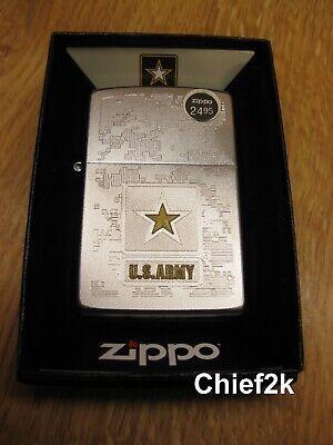 Zippo Lighter US Army Etched Digital Camo Design 29388 Brushed Chrome