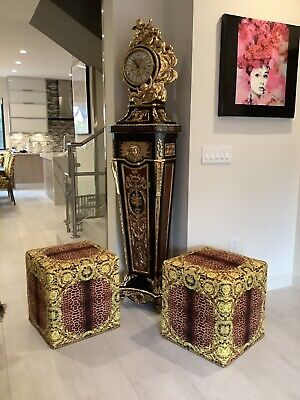 Pair Of 2 Custom Made Versace Large Cube Ottomans Show Pieces One Of Kind 4K
