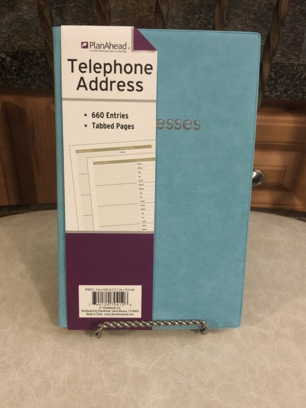 PlanAhead  Telephone Address Book Smooth Cover -Aqua Blue - 660 Entries