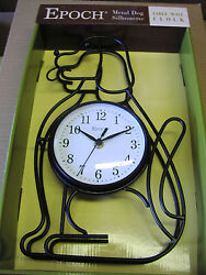 Wrought iron Dog lover Silhouette Wall Clock 14.5inches high VERY NICE GIFT-NEW