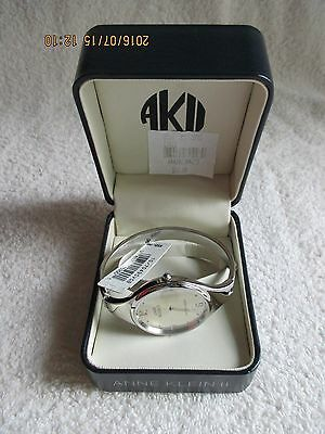 Vintage ANNE KLEIN Women's BANGLE Wristwatch Silver Quartz Water Resist Battery