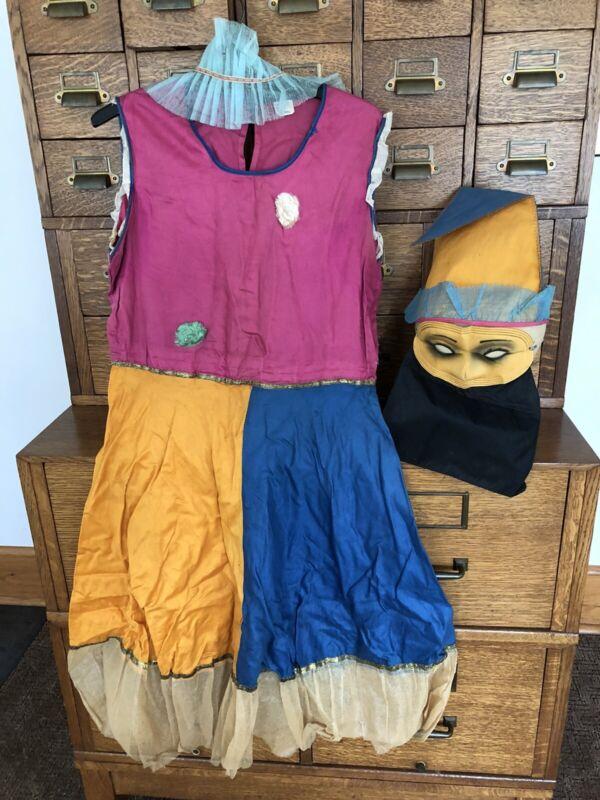 Vtg Antique HALCO Halloween Party Costume 4pc Girl Clown Dress