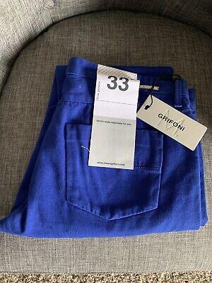 NWT Mauro Grifoni Men's Light Blue Cotton Denim Jeans Pants Dark Wash Sz 33 Slim