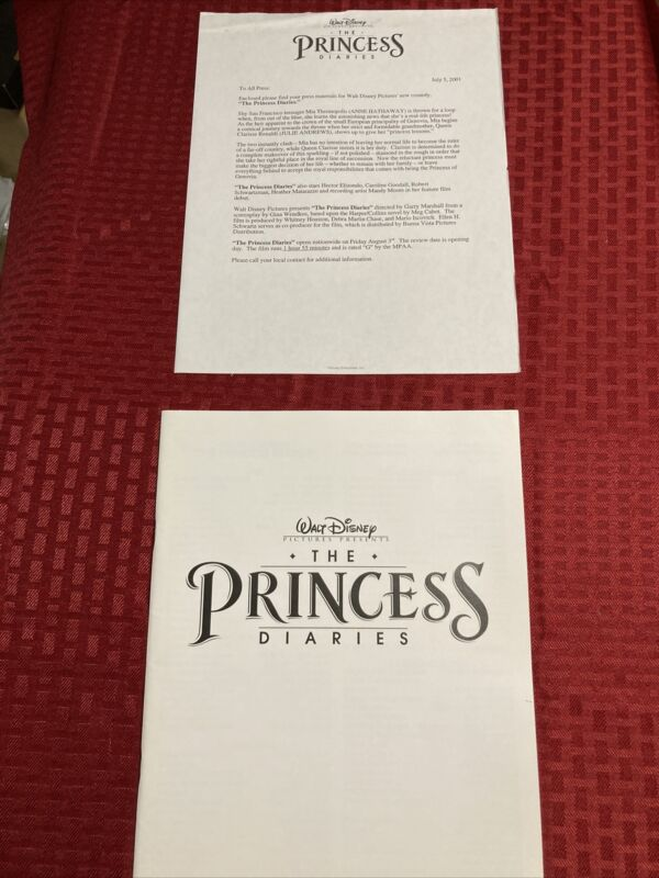 Walt Disney The Princess Diaries Pressbook And Preview Letter 2001