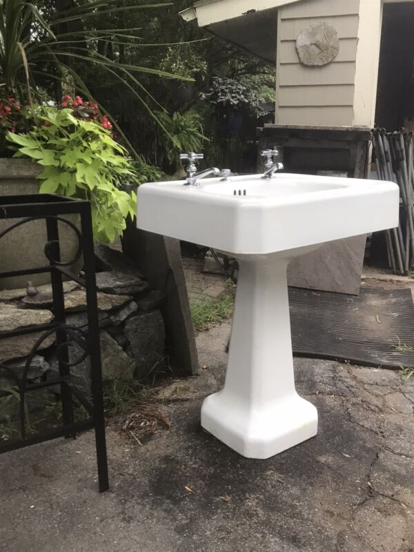 1939 Antique Cast Iron Porcelain Pedestal Bath Sink Vintage American Standard A+