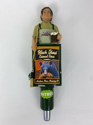Madison River Brewing Company Beer Tap Handle Fly Fisherman Black Ghost Stout